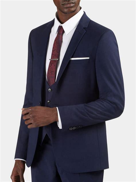 Skinny Fit City Blue Textured Suit Jacket  Burton Menswear