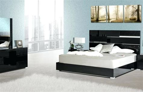bedroom atmosphere ideas black lacquer set wood furniture