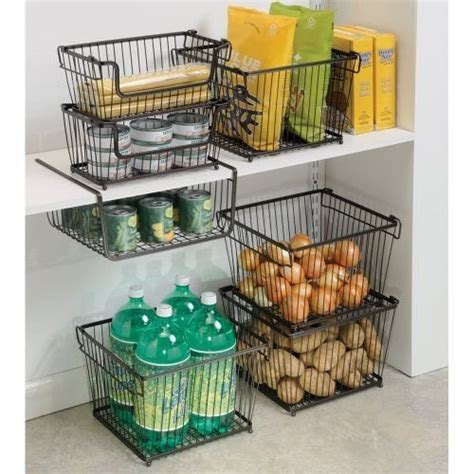 kitchen storage baskets wire pantry organization ideas food storage containers and 6142