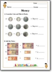 money addition  class  money activity worksheet