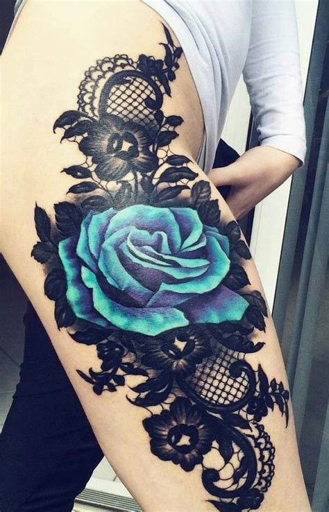 amazing thigh piece blue rose  lace tattoo pinterest blue roses thighs  rose