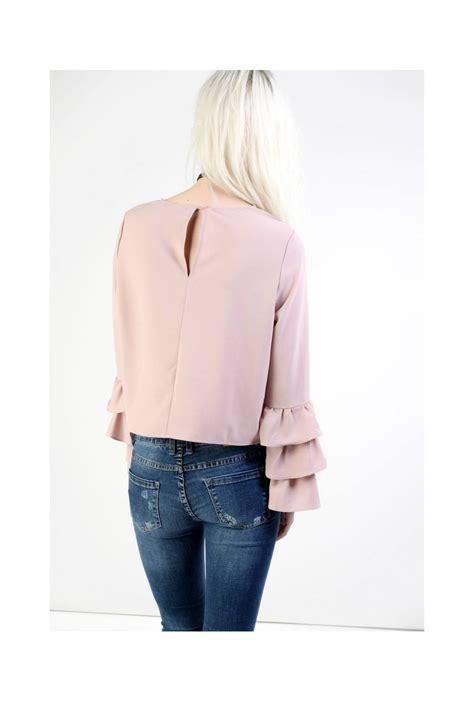 light pink blouse glamorous light pink ruffle blouse glamorous from ruby