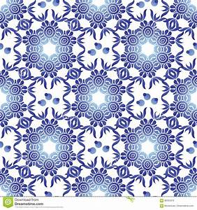 Vector Seamless Pattern With Flowers And Leaves In Gzhel ...