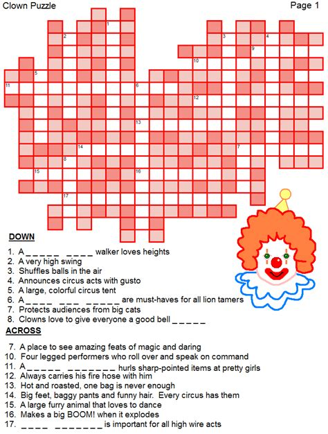 printable circus word puzzles great  kids