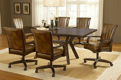dining table with rolling chairs modern dining room furniture design amaza design