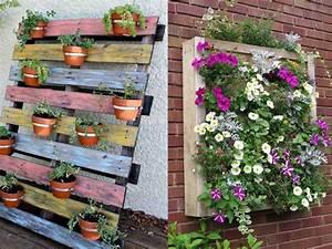 un jardin vertical en palettes joli place With brise vue avec jardiniere 9 transformer une palette en bois en jardiniare deco