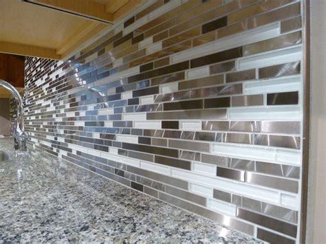 How To Install Glass Mosaic Tile Kitchen Backsplash metal and white glass random strips backsplash tile mosaic