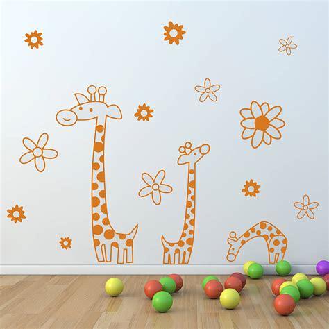 childrens giraffe wall sticker set  oakdene designs