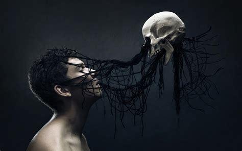 men digital art fantasy art skull death spooky