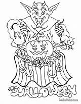 Coloring Halloween Devil Pages Monster Monsters Scary Printable Pumpkin Print Adult sketch template