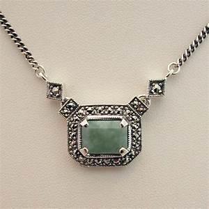 collier argent jade marcasites 92 bijoux de style art With bijoux en jade