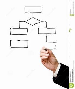 Man Drawing Flow Diagram Stock Images