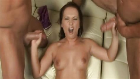 Handjob For Two Hard Dicks From Sexy Brunette Porn Babe