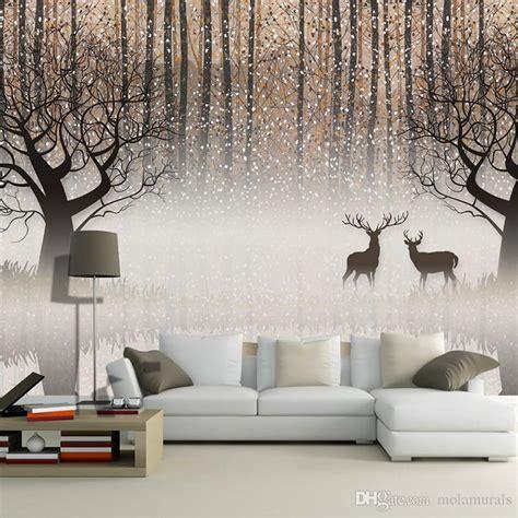 wall mural vintage nostalgic dark forest elk  tv