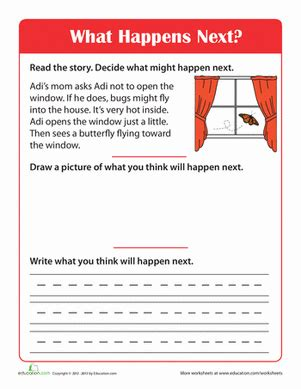 story comprehension what happens next worksheet education com