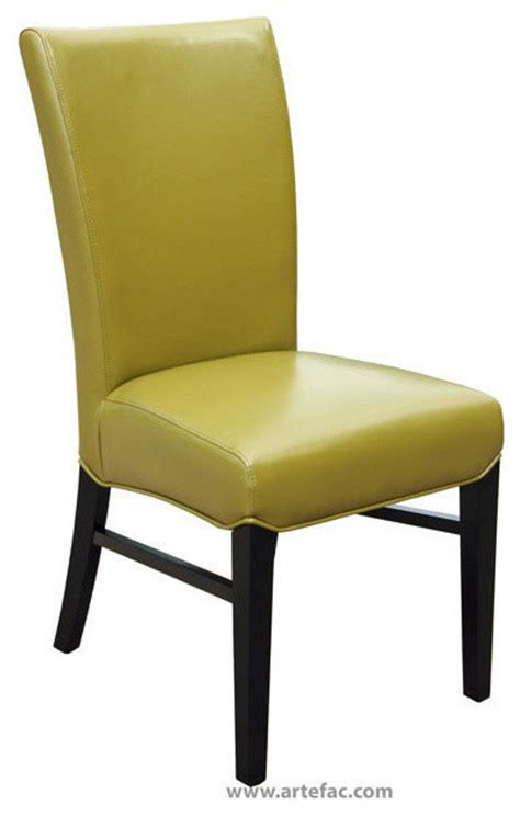 leather dining chair wasabi green leather contemporary