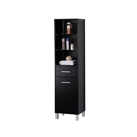 fresca espresso bathroom linen side cabinet   open