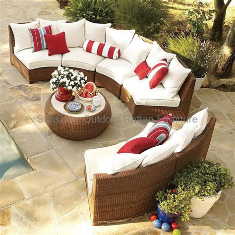 semi circle sectional resin wicker sofa fco 2083