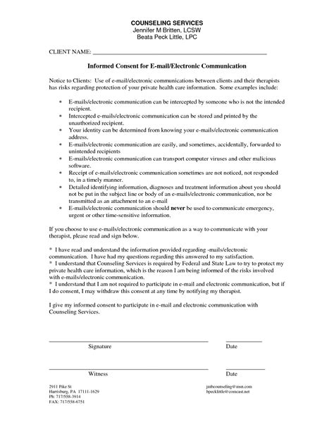 counseling informed consent form exle counseling informed consent form template counseling adaptations consent forms informed