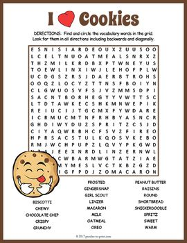 cookies word search puzzle  puzzles  print tpt