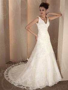 lace organza v neck a line wedding gown chapel train With a line wedding dress