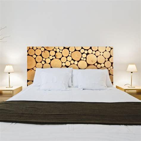sticker t 234 te de lit rondins de bois d 233 coration tendance pour la chambre gali