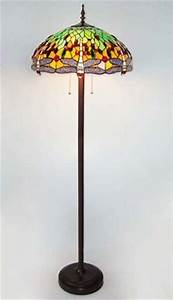 Tiffany style dragonfly stained glass floor lamp for Tiffany style vase floor lamp