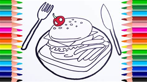 Food Coloring Page.how To Draw Breakfast Food, Hamburger