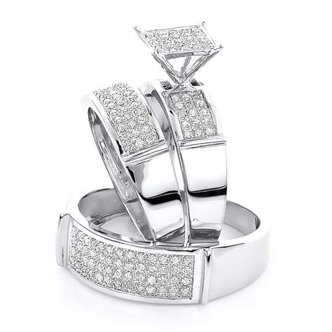 Affordable Diamond Engagement Trio Wedding Rings Set 0.53ct 10K Gold