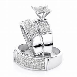 affordable diamond engagement trio wedding rings set 0 With affordable diamond wedding ring sets