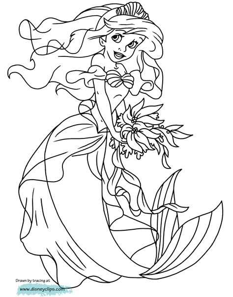 mermaid coloring pages  disneyclipscom