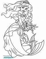 Ariel Mermaid Coloring Disney Princess Disneyclips Playing Funstuff sketch template
