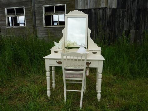 Victorian Antique Dressing Table & Chair-painted Vintage