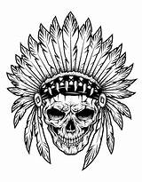 Coloring Indian Pages Native Indians Skull American Chief Feathers Adult Children Adults Vector Tattoo Shutterstock Americans Illustration Copy Justcolor Simple sketch template