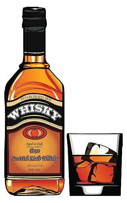 Whiskey Whisky Bottle Clipart Glass Clip Empty