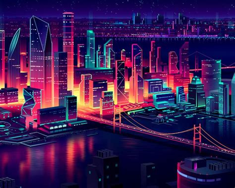 80s Neon City Wallpaper by Commissioned Illustrations For Panasonic Pics In 2019
