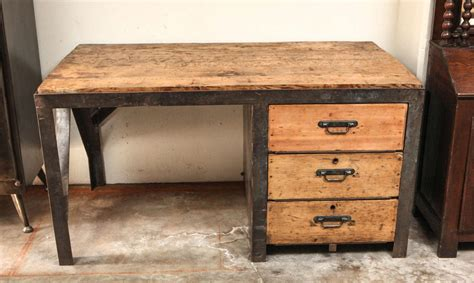 wood top desk 19th century desk in metal with wood top and drawers at