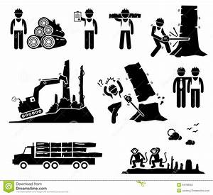 Timber Logging Worker Deforestation Cliparts Icons Stock