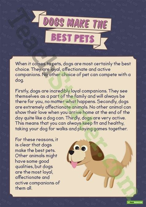 comprehension dogs    pets teaching resource