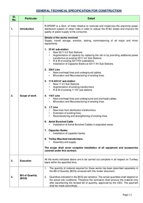 General technical specification for construction