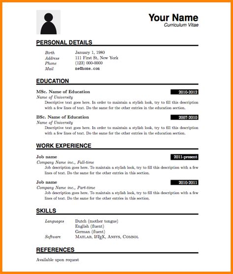 Curriculum Vitae Francais Exemple Simple by Exemple De Cv Simple Word Curriculum Vitae Francais