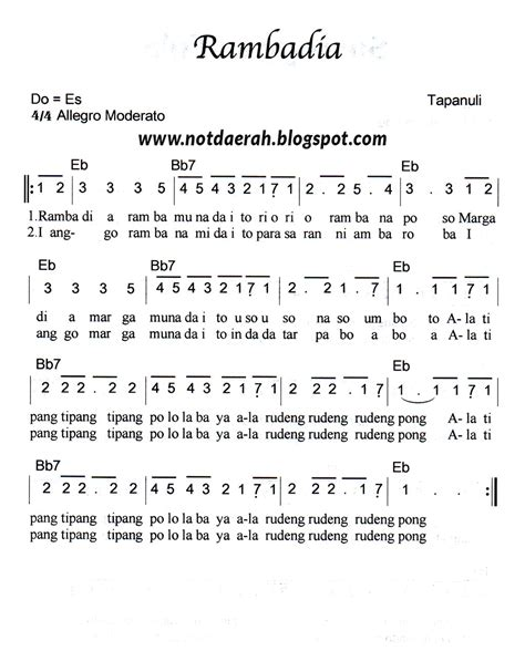 lirik lagu sirih kuning beserta not nya not angka lagu rambadia tapanuli not angka lagu daerah