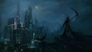 Dark, Grim, Reaper, Horror, Skeletons, Skull, Creepy, Cities, Night, Wallpapers, Hd, Desktop, And