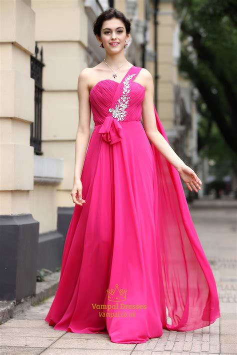Hot Pink One Shoulder Bridesmaid Dressesone Strap Fuschia