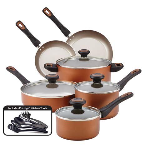 cookware farberware copper kitchen walmart pots sets pan piece nonstick pans mainstays performance piezas faberware basic cobre dishwasher cooking magnalite