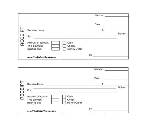 Printable Receipt Template by Receipt Template Doc For Word Documents In Different Types