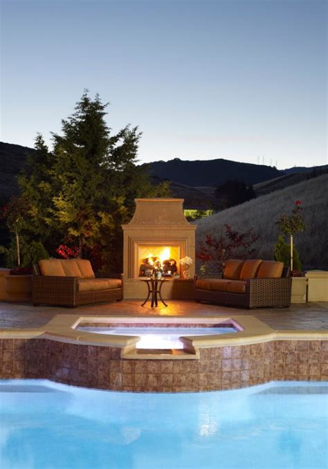 backyard pool fireplace porch patio s and deck s
