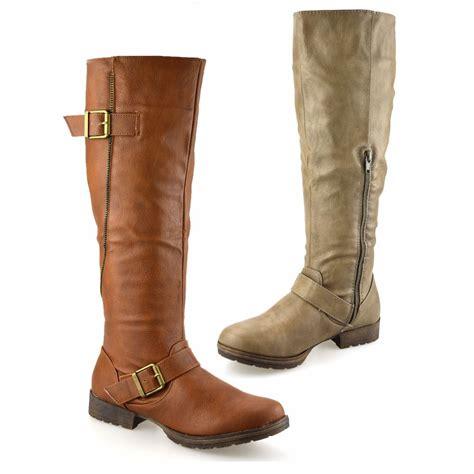ladies biker boots ladies womens knee high flat heel zip up winter riding