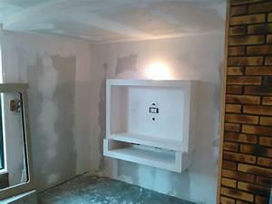 Fixer Une Télé Au Mur : comment r aliser un meuble tv suspendu en placo sebricole ~ Premium-room.com Idées de Décoration