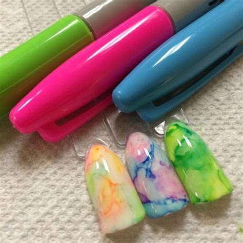 pimpmynails sharpie rubbing alcohol   marbled